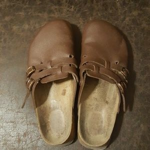 Brown Leather Birkenstock Clogs